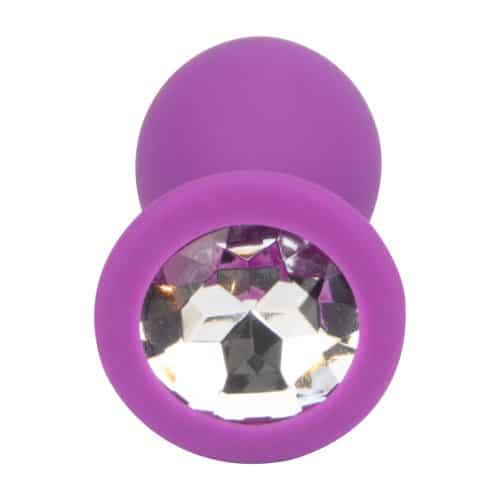 N11238 Loving Joy Jewelled Silicone Butt Plug Purple Medium 3